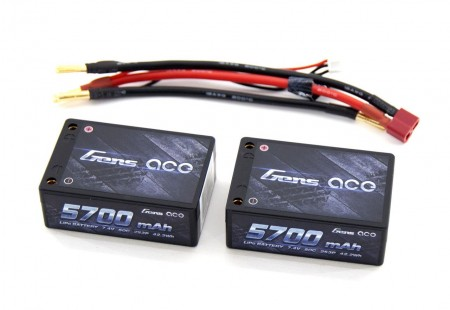 Аккумулятор GensAce LiPo 7.4V 2S 50C 5700mAh Pro Racing (Saddle) фото