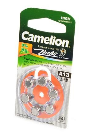 Батарейка Camelion Zinc-Air A13-BP6 (0%Hg) BL6 фото