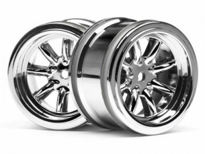 Диски 1/10 - Vintage 8 Spoke Wheel 31mm Shiny Chrome 6mm Offset фото