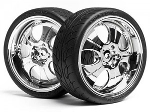 Колеса в сборе 1/10 Mounted Super Low Tread Tire (Chrome/4pcs) фото