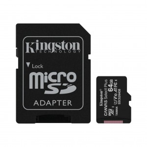 Карта памяти KINGSTON Canvas Select Plus microSD 64GB (Class 10) A1 (100 Mb/s) с адаптером BL1 фото