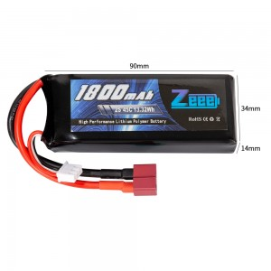 Аккумулятор Zeee Power LiPo 7.4V 2S 45C 1800mAh Soft (T-Plug) фото