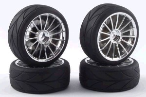 Колеса 1/10 - 15Spoke Touring Car Wheel & Tyre Set (4шт) - Chrome фото