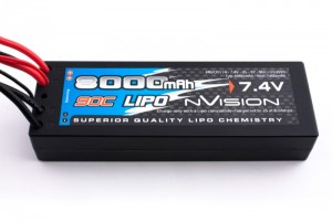 Аккумулятор nVision Factory Pro LiPo 7.4V 2S 90C 8000mAh 10 AWG (Deans/T-Plug) фото