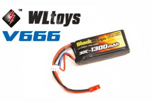 Аккумулятор Black Magic LiPo 7.4V 1300mAh 30C (JST-BEC) для WLToys V666 фото
