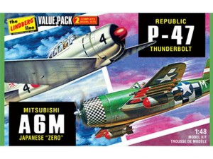Сборные модели самолетов Hawk Lindberg WWII Adversaries (P-47 Thunderbolt & Japaneze Zero) 1:48 фото