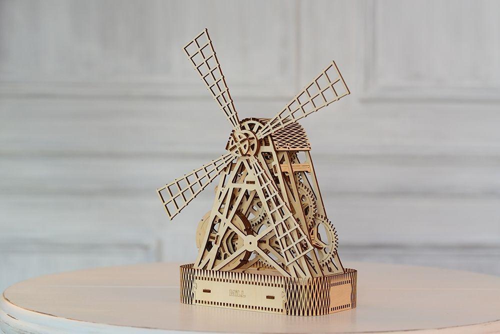 """Деревянный механический 3D-пазл Wooden City """"Ветряная мельница"""" - WR307"""