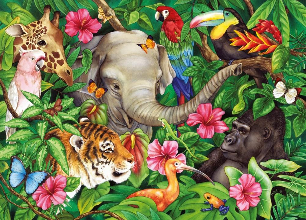 Рисунок джунгли с животными для детей
