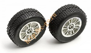 Narrow Spoked Wheel, chrome with Mini-Pin tire, mounted and glued фото