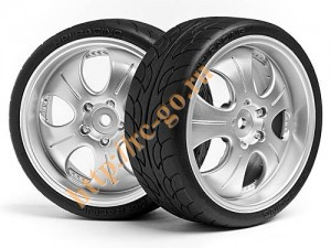 Колеса в сборе 1/10 Mounted Super Low Tread Tire (Matte Chrome/4pcs) фото